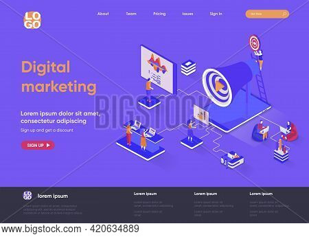 Digital Marketing Isometric Landing Page. Marketing Research, Business Analytics And Presentation, S