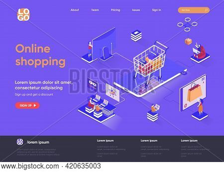 Online Shopping Isometric Landing Page. E-commerce Business, Web Solution For Online Shopping Platfo