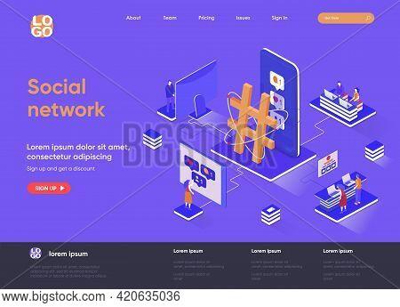 Social Network Isometric Landing Page. Internet Community Communication, Social Media Content Sharin