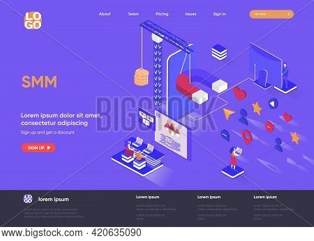 Smm Isometric Landing Page. Digital Marketing Campaign, Announcement And Promotion Isometry Web Page