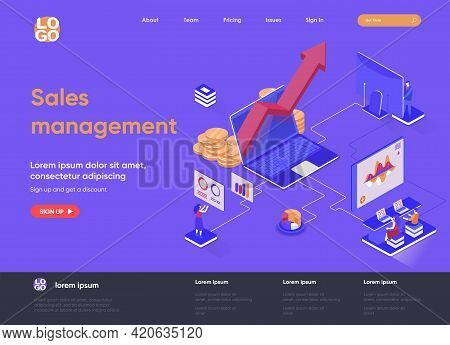 Sales Management Isometric Landing Page. Developing Sales Force, Coordinating Sales Operations And D