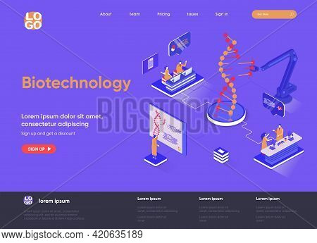 Biotechnology Isometric Landing Page. Dna Sequence Cloning And Recombination Isometry Web Page. Gene
