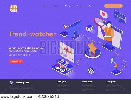 Trend-watcher Isometric Landing Page. Professional Trend Watching Occupation, Marketing Research And