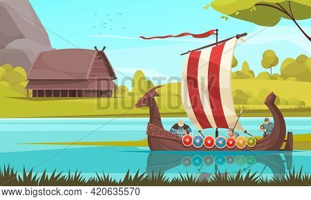 Vikings Sailing In Traditional Wooden Longship Boat With Rectangular Sail Prow Adorned With Dragon H