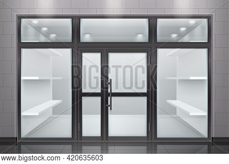Glass Door Entrance Realistic Composition With View Of Store Front With Transparent Door And Empty S