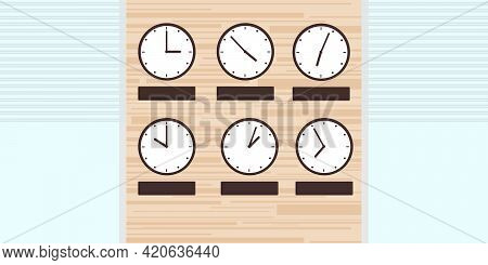 Office Reception Illustration. On The Wall There Are Two Rows Of Clocks With Different Times. Vector