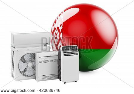 Belarusian Flag With Cooling And Climate Electric Devices. Manufacturing, Trading And Service Of Air