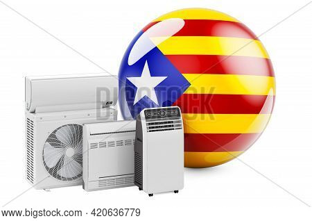 Catalan Flag With Cooling And Climate Electric Devices. Manufacturing, Trading And Service Of Air Co