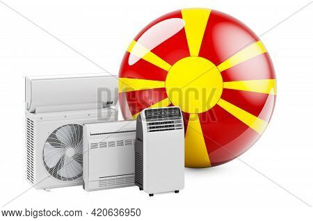 Macedonian Flag With Cooling And Climate Electric Devices. Manufacturing, Trading And Service Of Air