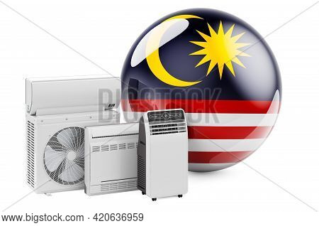 Malaysian Flag With Cooling And Climate Electric Devices. Manufacturing, Trading And Service Of Air