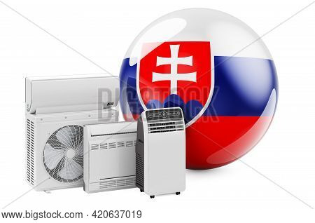 Slovak Flag With Cooling And Climate Electric Devices. Manufacturing, Trading And Service Of Air Con