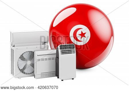 Tunisian Flag With Cooling And Climate Electric Devices. Manufacturing, Trading And Service Of Air C
