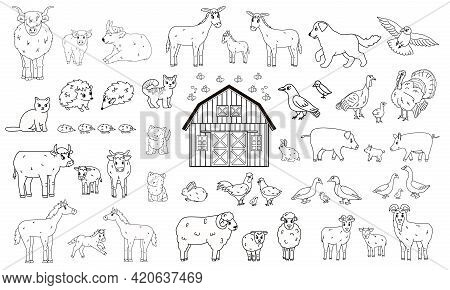Set Of Outline Cartoon Farm Animals. Vector Collection Of Wooden Barn, Donkey Goose Cow Bull Pig Hog