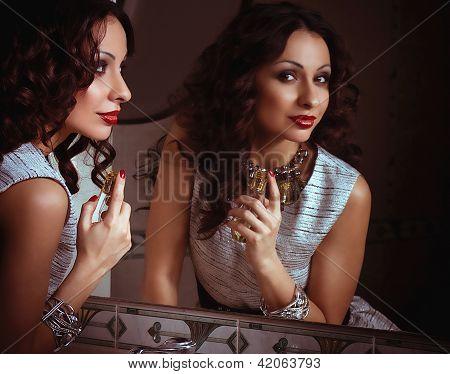 Fashion woman with jewelry bijouterie. Fashion portrait