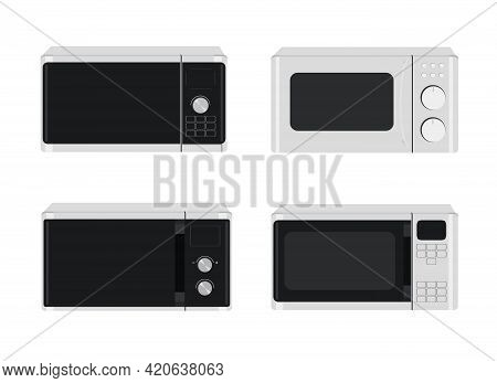 Microwave Oven Set. Vector Illustration Of Different Designs Of Microwave Ovens.