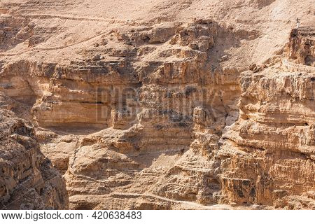 Judean Desert, Israel. Mountain Landscape. Wadi Qelt Land. Canyon And Stairs Near The Saint George M