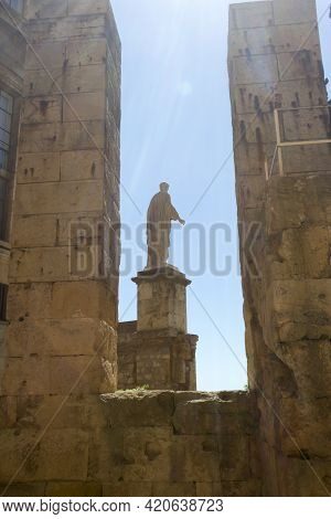 Tarragona, Spain, March 1, 2020 - National Archaeologic Museum Of Tarragona. Antique Statue Historic