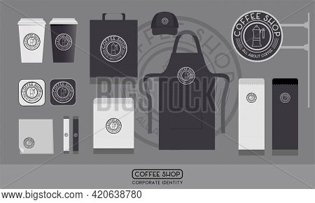 Coffee Shop Corporate Identity Template Set. Logo Concept, Paper Package, Cup, Uniform And Sign For