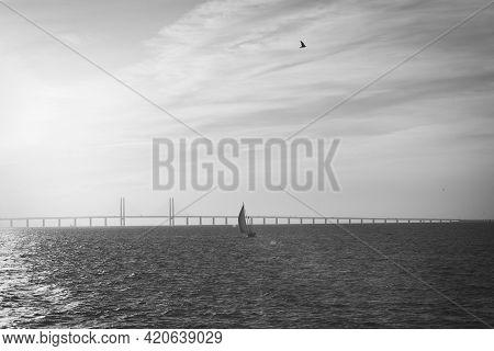210501 Malmo Sweden - Black And White Photo Over Oresundsbron Between Sweden And Denmark. High Quali