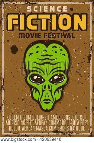 Alien Green Head Vector Poster For Science Fiction Movie Fest In Vintage Style. Layered, Separate Gr