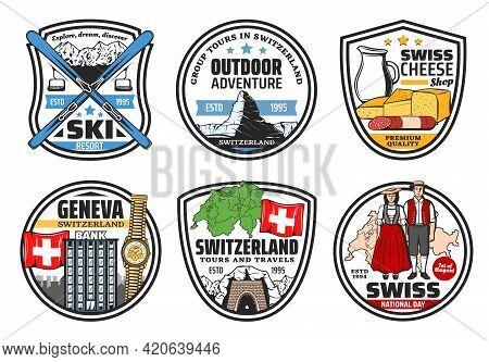 Swiss Travel, Culture Icons. Switzerland Landmarks Vector Emblem. Bank, Wristwatch And Swiss Flag, T