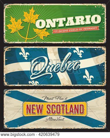 Ontario, Quebec And New Scotland Canada Regions And Provinces Vector Plates Of Canadian Flags And Co