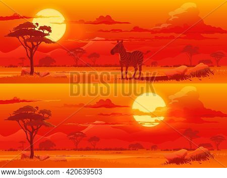 Sunset In African Savannah Cartoon Vector Background. Zebra And Elephant, Trees And Grass, Mountains