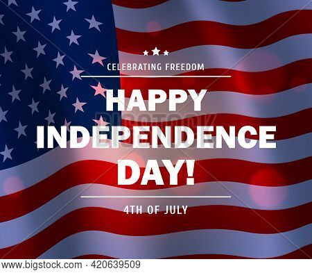 Usa Flag Vector Background Of American 4th July Independence Day Greeting Card Or Poster. Waving Nat