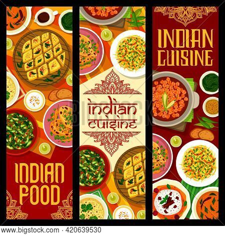 Indian Cuisine Food With Meat And Vegetable Curry Vector Banners. Corn Soup, Cabbage Salad And Cake,