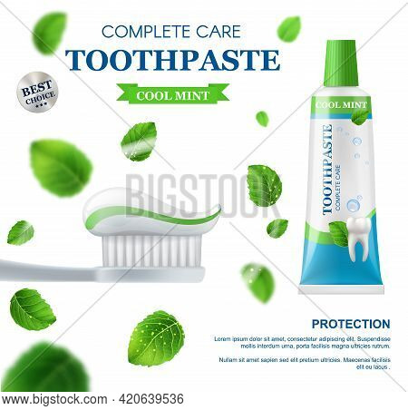 Mint Toothpaste, Dental Care Vector Design With Realistic 3d Toothbrush, Squeeze And Tube Of Toothpa