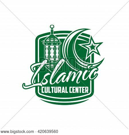Islamic Cultural Center Icon, Vector Symbol With Muslim Moon With Star And Candle Lantern Of Green C