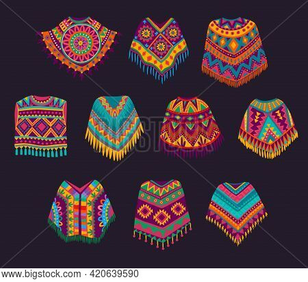 Cartoon Mexican Poncho, Vector Traditional Clothes Of Mexico, Decorated With Bright Ethnic Pattern O