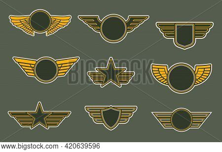 Army Patches With Wings, Heraldic Icons, Vector Winged Insignia Or Emblems. Air Force Of Round, Shie