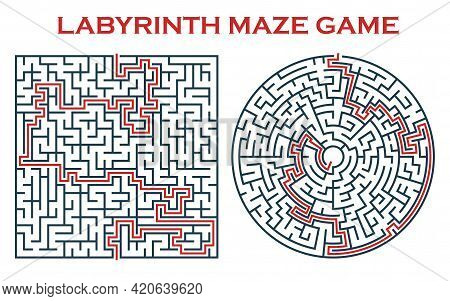 Labyrinth Maze Game, Round And Square Maze With Clue. Vector Logic Game Templates With Tangled Way.