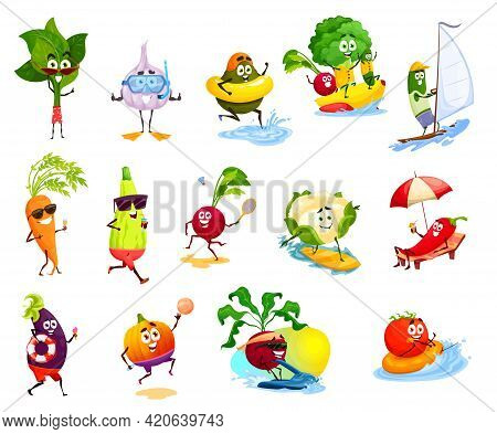 Vegetable Characters On Beach Vacation, Vector Summer Leisure Activities, Travel And Holiday. Cute T