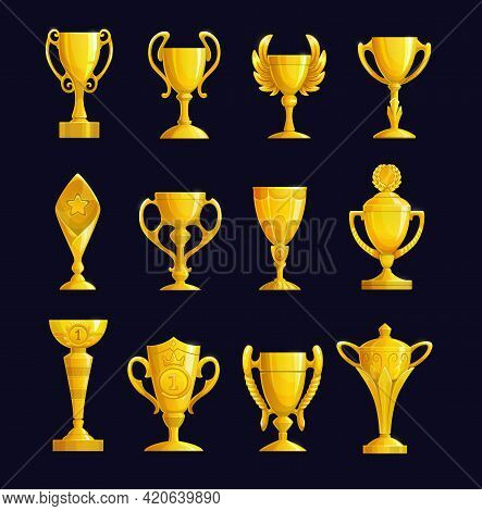 Champion Cup Cartoon Vector Icons. Leader Prize, Sport Championship Or Tournament Winner Award. Gold