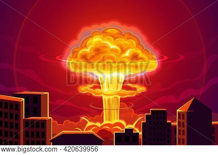 Atomic Bomb Explosion In City Cartoon Vector Background. Nuclear Power Plant Accident, Mass Destruct