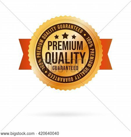 Premium Quality Golden Label With Luxury Realistic Design. Descriptive Selling Exclusive Product Wit