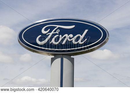 Kokomo - Circa May 2021: Ford Car And Truck Dealership. Ford Sells Cars, Suvs, Pick Up Trucks And He