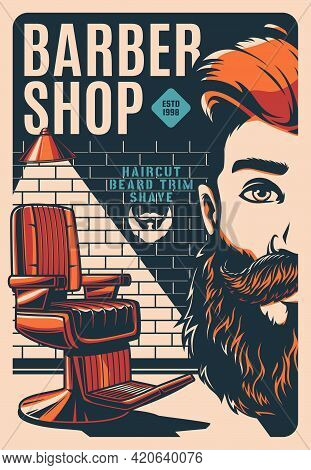 Barbershop Retro Poster With Man Beard And Mustaches, Vector. Barber Shop Vintage Poster Or Sign Wit