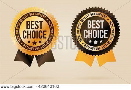 Best Choice Emblem Set. Merchandise Sticker Label. Exclusive Product Or Service Quality Warranty Ass