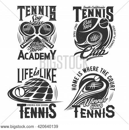 Tennis School, Racket Sport Club T-shirt Prints. Crossed Rackets And Flying After Hit Ball Engraved