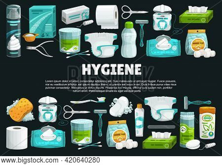 Personal Hygiene Products And Tools Banner. Shaving Foam And Razor, Detergent, Nail Scissors And Tam