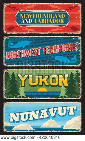 Newfoundland And Labrador Province, Northwest, Yukon And Nunavut Territories Of Canada Vector Plates