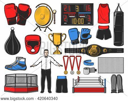Boxing Icons Of Kickboxing Or Mma Fight Equipment And Items, Vector. Boxing Garments And Equipment O