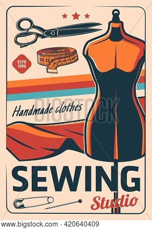 Sewing And Tailoring Industry Poster, Tailor Shop And Dressmaking Atelier Or Workshop, Vector. Dress