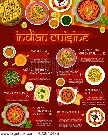 Indian Restaurant Menu Vector Food Of Vegetable And Meat Curry Dishes With Desserts. Lentil Corn Sou