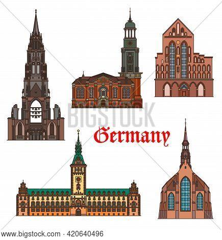 Germany, Hamburg And Lubeck Architecture Buildings, Vector Travel Landmarks. German Hamburg Rathaus