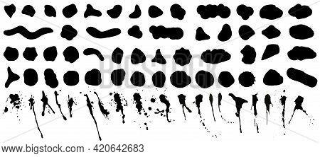 Random Shapes, Black Bloods And Splashes Of Irregular Shape. Abstract Organic Silhouettes - Inkblot,