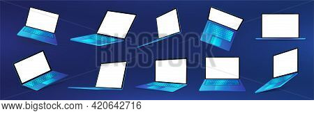 Futuristic Blue Laptop Collection. 3d Realistic Gadgets With Futuristic Colors. Laptops, Netbooks In